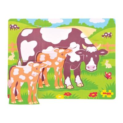 Puzzle mucca in legno Bigjigs